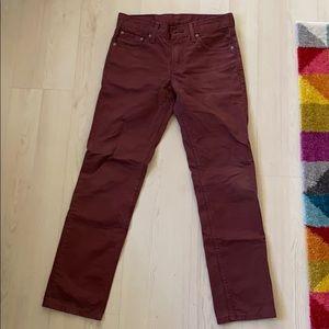 Levi's 511 Burgundy Skinny Jeans